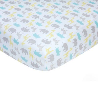 Carters Sateen Crib Sheet- Pastel Safari