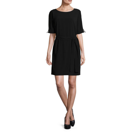 Worthington Short Sleeve Tie Front Woven Dress