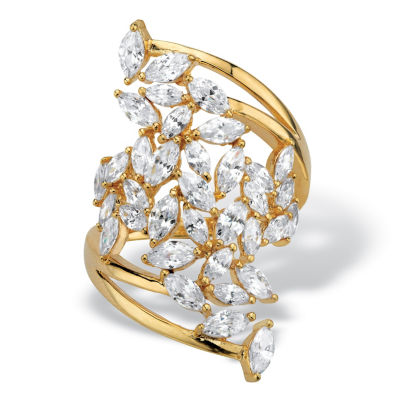 Diamonart Womens 4 1/4 CT. T.W. White Cubic Zirconia 14K Gold Over Silver Cocktail Ring