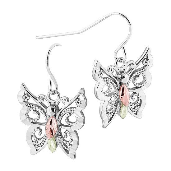 Black Hills Gold Landstroms Sterling Silver Butterfly Drop Earrings