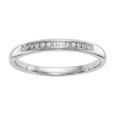 Womens 2mm Diamond Accent White Diamond 14K White Gold Wedding Band