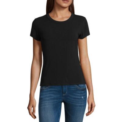 Arizona Womens Crew Neck Short Sleeve Graphic T-Shirt-Juniors