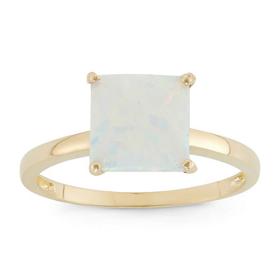 Womens Lab Created White Opal 10K Gold Solitaire Cocktail Ring