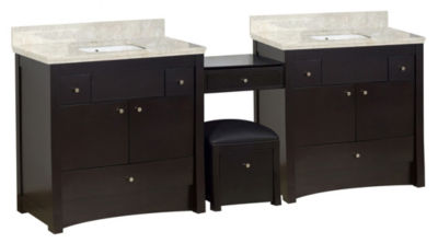 93.25-in. W Floor Mount Distressed Antique WalnutVanity Set For 1 Hole Drilling Beige Top White UMSink