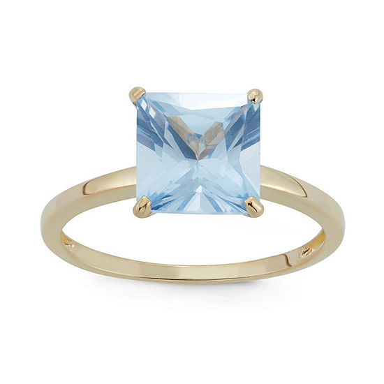 Womens Lab Created Blue Aquamarine 10K Gold Solitaire Cocktail Ring