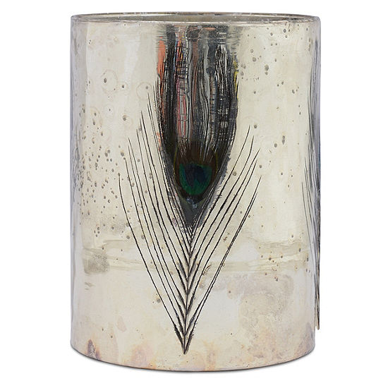 Elements Feather Glass Hurricane Candle Holder
