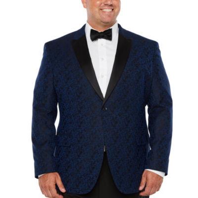 JF J.Ferrar Formal Stretch Bright Blue Floral Classic Fit Sport Coat - Big and Tall