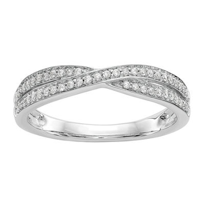 Womens 2mm 1/5 CT. T.W. White Diamond 14K White Gold Wedding Band