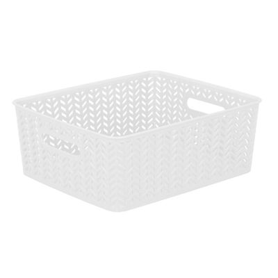 Resin Herringbone Storage Tote-White-Medium 14 X11.5 X 5.15