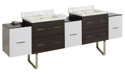 90-in. W Floor Mount White-Dawn Grey Vanity Set For 3H4-in. Drilling Bianca Carara Top Biscuit UM Sink