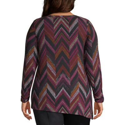 Alyx Long Sleeve Asymmetrical Hem Tunic Top - Plus