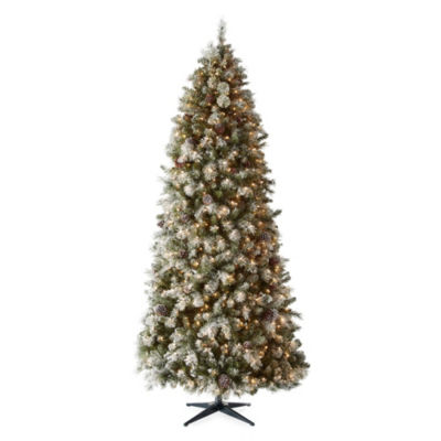 9 foot geneva pre lit flocked pre decorated christmas