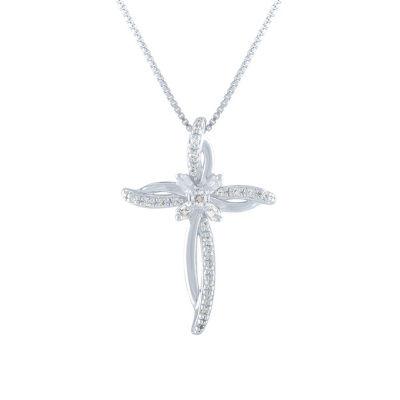 Womens 1/10 CT. T.W. Genuine White Diamond Cross Pendant Necklace