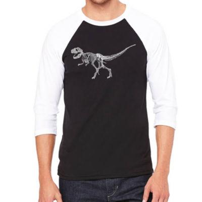 Los Angeles Pop Art Men's Big & Tall Raglan Baseball Word Art T-shirt - Dinosaur T-Rex Skeleton