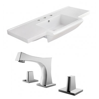 40-in. W 3H8-in. Ceramic Top Set In White Color -CUPC Faucet Incl.