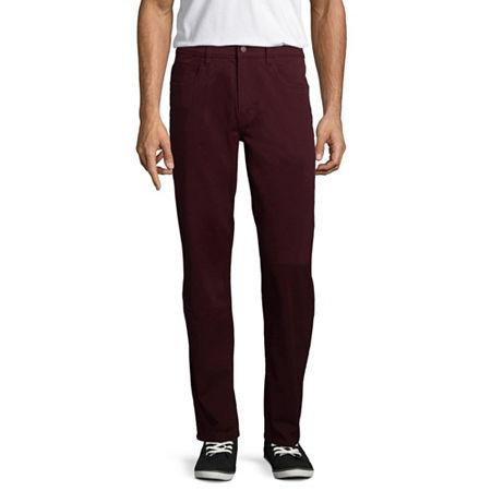 St. John's Bay Stretch Straight Fit 5 Pocket Pants, 29 30, Red