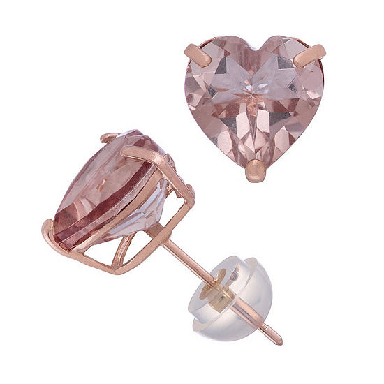 Simulated Pink Morganite 14K Rose Gold 8.1mm Heart Stud Earrings