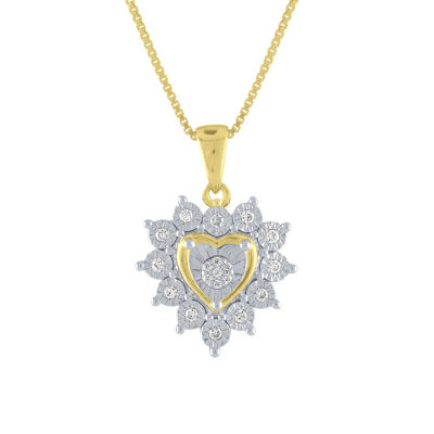 Womens 1/10 CT. T.W. Genuine White Diamond 14K Gold Over Silver Heart Pendant Necklace