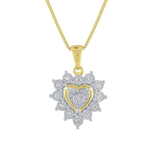 Womens 1/10 CT. T.W. Genuine White Diamond 14K Gold Over Silver Heart Pendant Necklace