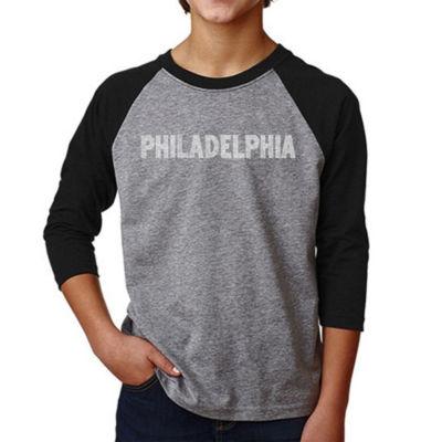 Los Angeles Pop Art Boy's Raglan Baseball Word Art T-shirt - PHILADELPHIA NEIGHBORHOODS