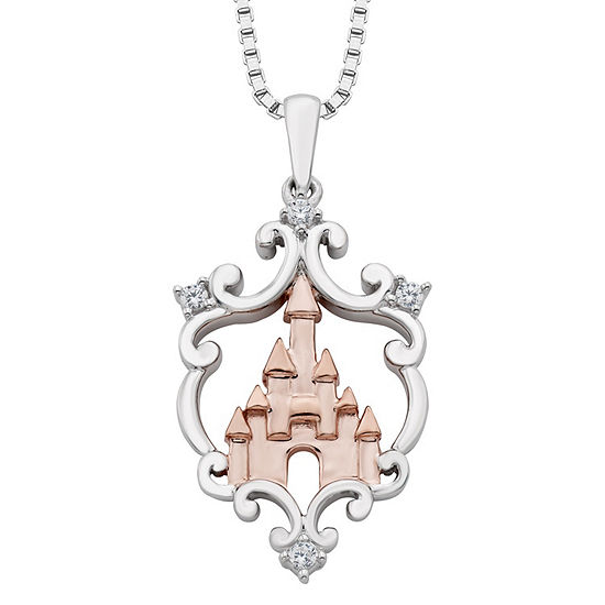 Enchanted Disney Fine Jewelry Diamond Accent Sterling Silver & 14K Rose Gold Over Silver Pendant Necklace