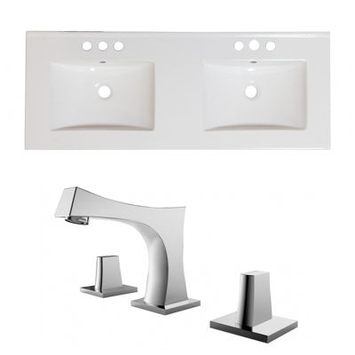 48-in. W 3H8-in. Ceramic Top Set In White Color -CUPC Faucet Incl.