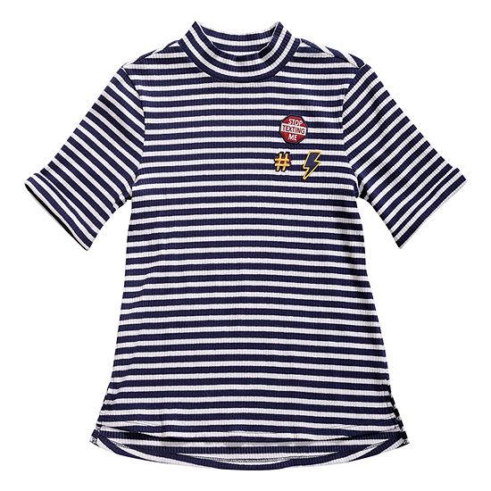 Obsess Girls Mock Neck Short Sleeve T-Shirt-Big Kid