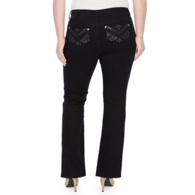 Star Stitch Sequin Pockets Bootcut Jeans - Plus
