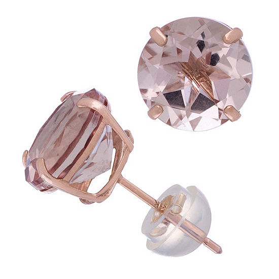 Simulated Pink Morganite 14K Rose Gold 8.1mm Round Stud Earrings