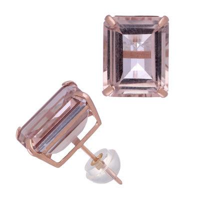 Simulated Pink Morganite 14K Rose Gold 11.1mm Rectangular Stud Earrings