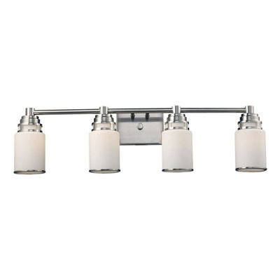 Bryant 4 Light LED Vanity In Satin Nickel And Opal White Glass