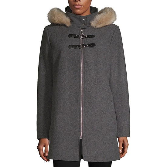 6c9308f117116 Liz Claiborne Heavyweight Hooded Peacoat - JCPenney