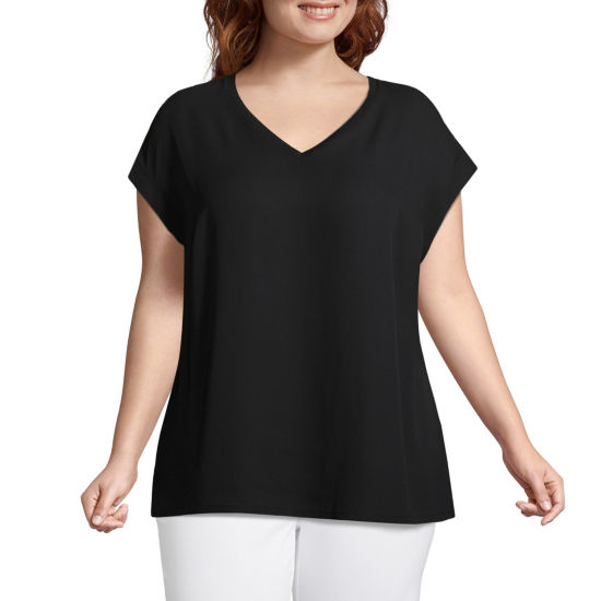 Worthington Short Sleeve V Neck Woven Blouse - Plus
