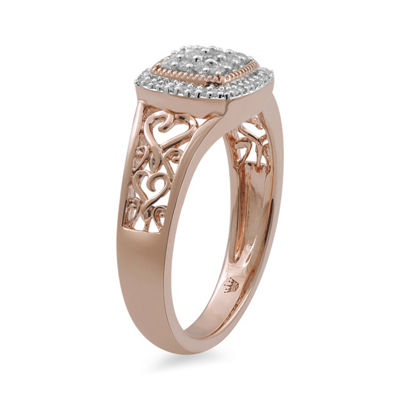 Hallmark Diamonds Womens 1/5 CT. T.W. White Diamond 14K Rose Gold Over Silver Cocktail Ring
