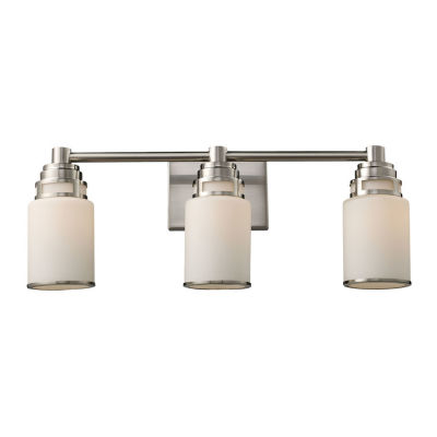 Bryant 3 Light LED Vanity In Satin Nickel And Opal White Glass