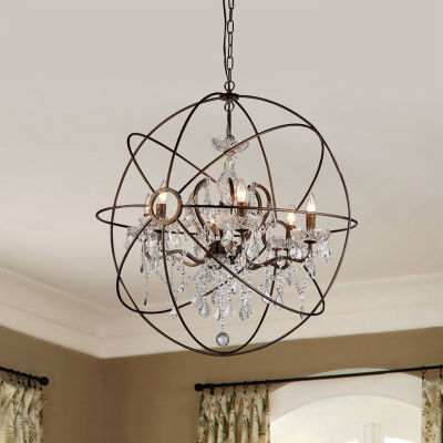 Warehouse Of Tiffany Planetshaker II Antique Bronze and Crystal 6-light Chandelier