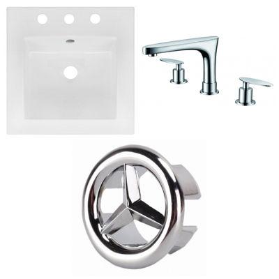 16.5-in. W 3H8-in. Ceramic Top Set In White Color- CUPC Faucet Incl.