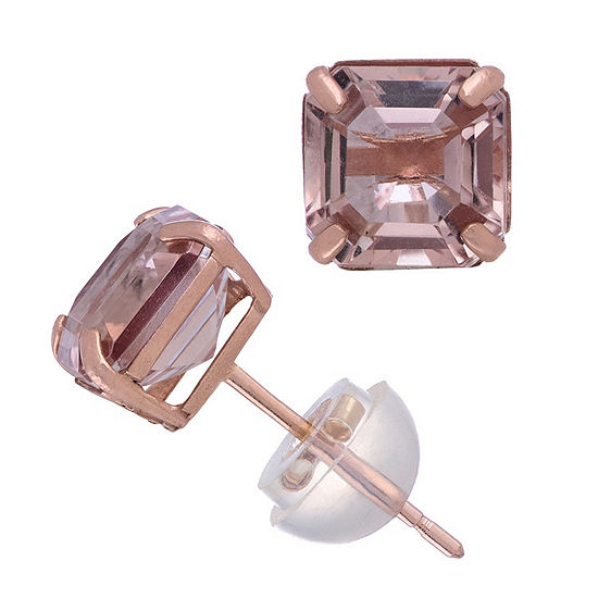 Simulated Pink Morganite 14K Rose Gold 6.1mm Square Stud Earrings