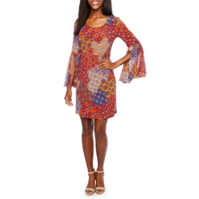 MSK 3/4 Split Sheer Sleeve Patchwork Shift Dress