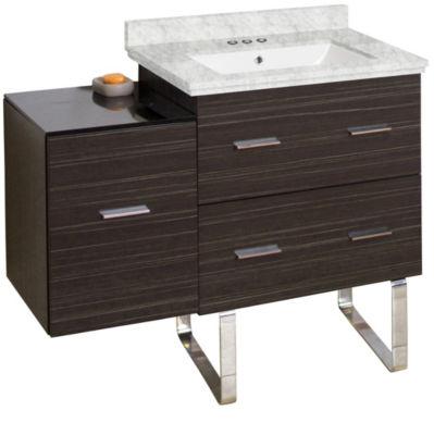 37.75-in. W Floor Mount Dawn Grey Vanity Set For 3H4-in. Drilling Bianca Carara Top White UM Sink