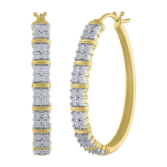 1/10 CT. T.W. Genuine White Diamond 14K Gold Over Silver Sterling Silver 36mm Hoop Earrings