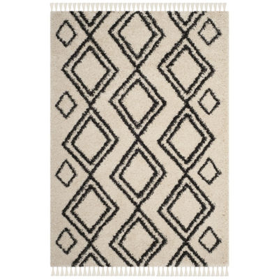 Safavieh Moroccan Fringe Shag Collection Horgan Geometric Round Area Rug