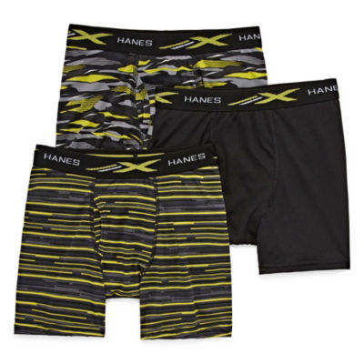 Hanes Xtemp Printed 3 Pair Boxer Briefs Boys