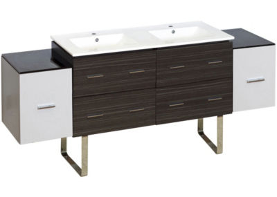 76-in. W Floor Mount White-Dawn Grey Vanity Set For 1 Hole Drilling