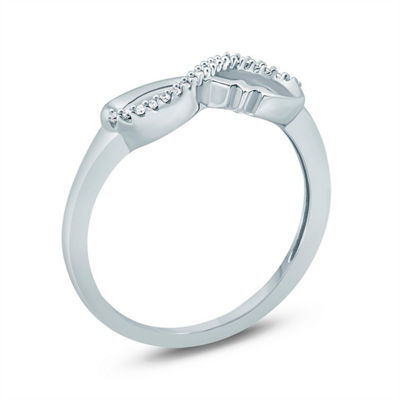 Womens 2mm 1/10 CT. T.W. White Diamond Sterling Silver Band