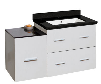 37.75-in. W Wall Mount White Vanity Set For 1 HoleDrilling Black Galaxy Top White UM Sink