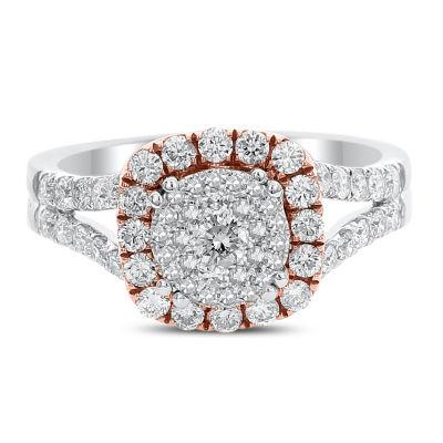 Womens 1 CT. T.W. Genuine White Diamond 14K Rose Gold Engagement Ring