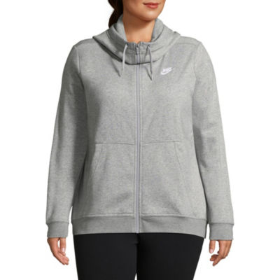 Nike® Womens Fleece Full Zip Cowl Neck Hoodie – Plus