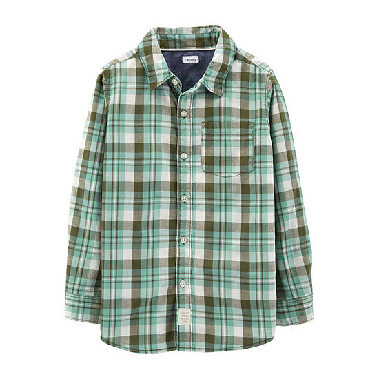 Carter's Boys Long Sleeve Button-Front Shirt Preschool / Big Kid