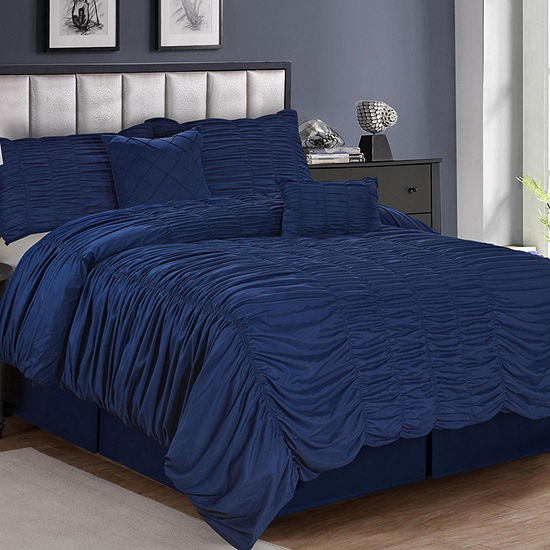 Olivia 5-pc. Pintuck Texture Solid Bedding Set